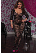Crotchet 3/4 Sleeve Bodystocking-blk X