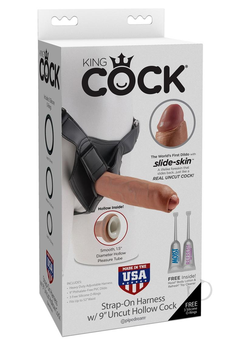 King Cock Strap-on Harness With Uncut Hollow Cocks Tan 9 Inch